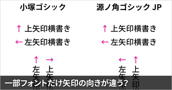 源ノ角ゴシックは縦書きの矢印の向きが他のフォントと違う(Illustrator・InDesign)