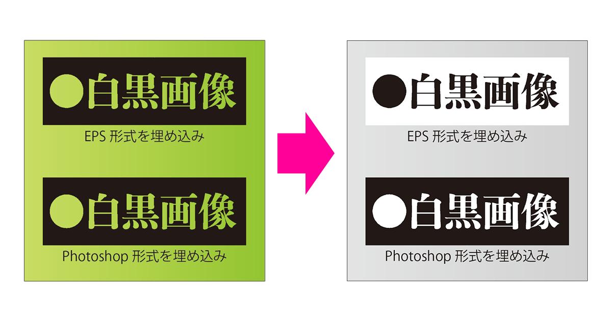 Illustratorで2階調のEPS画像ファイルを埋め込んでグレースケールにカラー変換すると階調が反転する