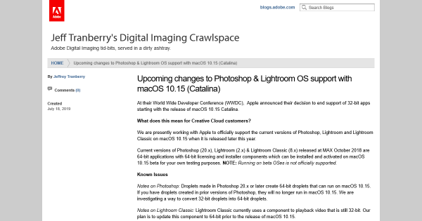 Upcoming changes to Photoshop & Lightroom OS support with macOS 10.15 (Catalina)