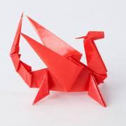 カラーグラシンペーパーで「レッドドラゴン」を折ってみました