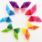 カラーグラシンペーパーを使って蝶を作りました