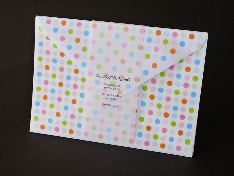 グラシン封筒にドット・チェック・トランプ柄を印刷してみました