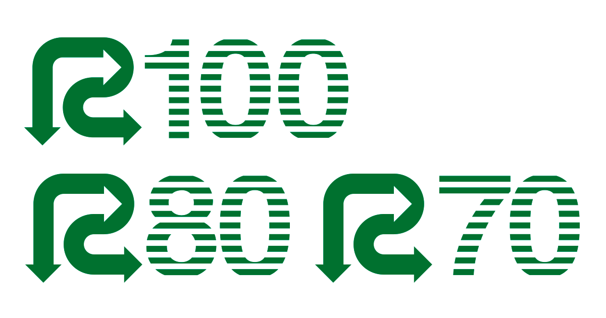 Rマーク・R100・R80・R70・再生紙使用マーク